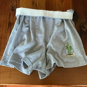 Grey soffe shorts with green cactus
